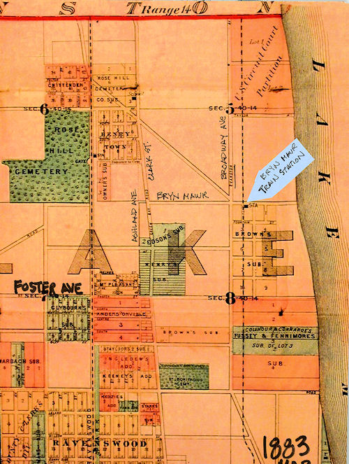 1883 Map Showing Edgewater Section of Lake View Township