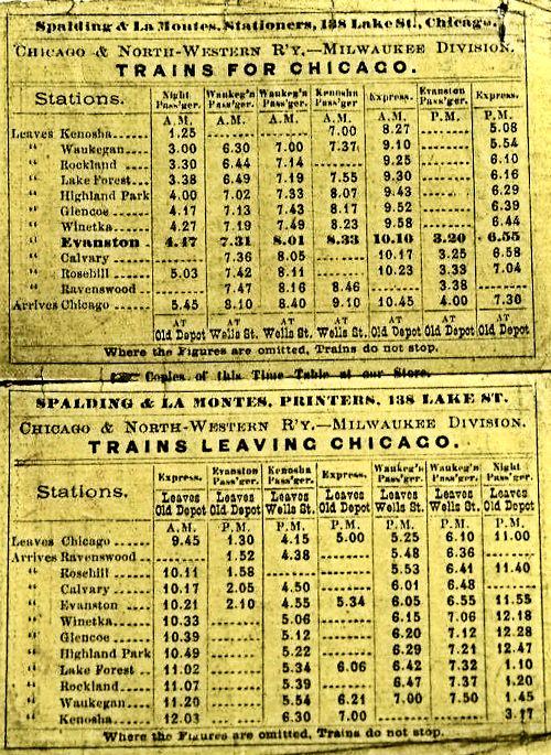 CNW Timetable November 28, 1869