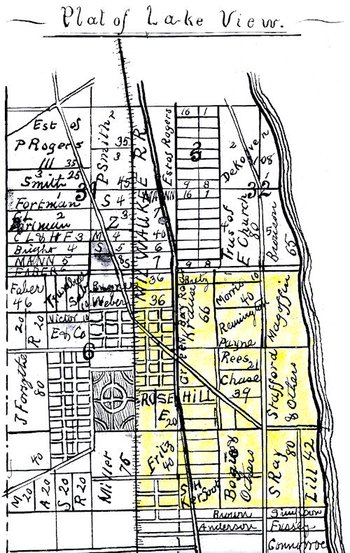 Early Acreage map of Edgewater Section of Lake View Township